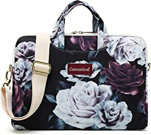 Canvaslove Red and White Rose Water Resistant Laptop Shoulder Messenger Bag Case for MacBook Pro 16 inch,15 inch Surface Laptop 3,Surface Book 2 and 14 inch,15 Inch,15.6 Inch Laptop
