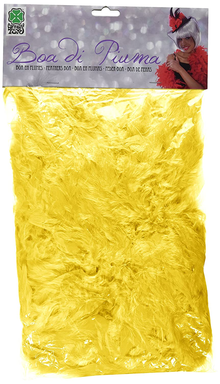 Boa di Piume Economico Giallo in Busta con Cavallotto 180 cm circa 45 gr. Carnival 08263