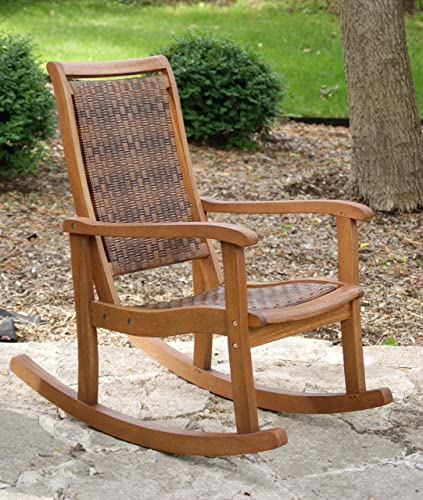 Outdoor Interiors 21095RC All Weather Wicker Mocha and Eucalyptus Rocking Chair