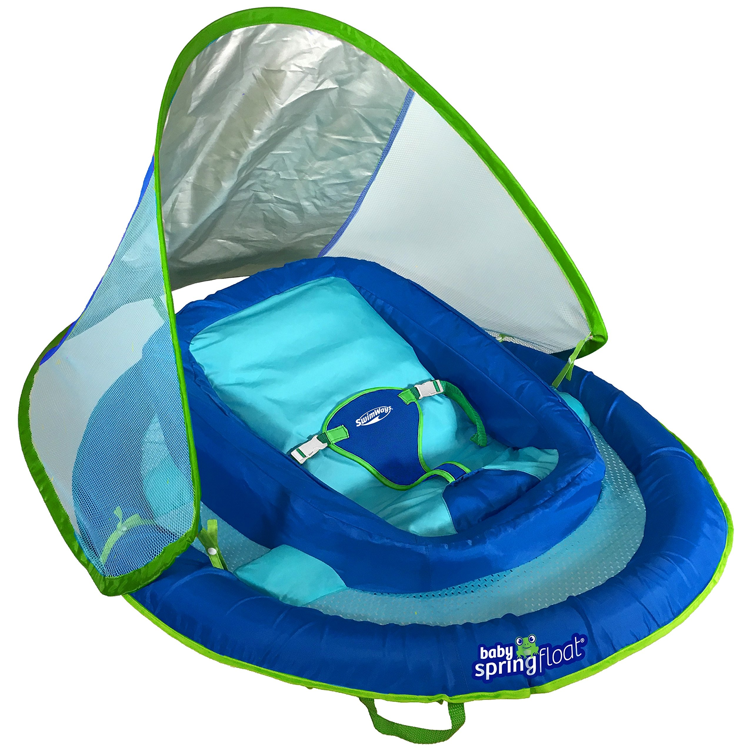 SwimWays Infant Baby Spring Float with Adjustable Sun Canopy - Blue by SwimWays