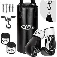 TecTake Box Set Boxsack 56cm gefüllt mit 10kg + Halterung inkl. Boxhandschuhe und Bandagen