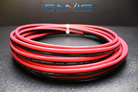 Amazon.com: 10 GAUGE 25 FT RED BLACK SPEAKER ZIP WIRE AWG CABLE ...