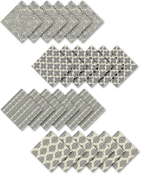 Elrene Home Fashions Everyday Casual Prints Assorted Cotton Fabric Napkins Set Of 24 17 X17 Gray 24 Count Home Kitchen Amazon Com