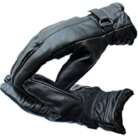 Alexvyan Warm Black 1 Pair Leather Snow Proof Winter Gloves for Men Boy Women Girls Ladies Unisex Protective Warm Hand Riding, Cycling, Bike Motorcycle Gloves