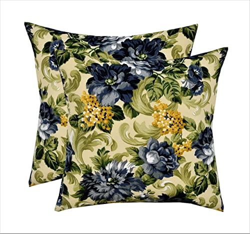 RSH D cor Set of 2 Indoor Outdoor Square Throw Pillows 17 x17 Blue and Yellow Floral with Green Leaves