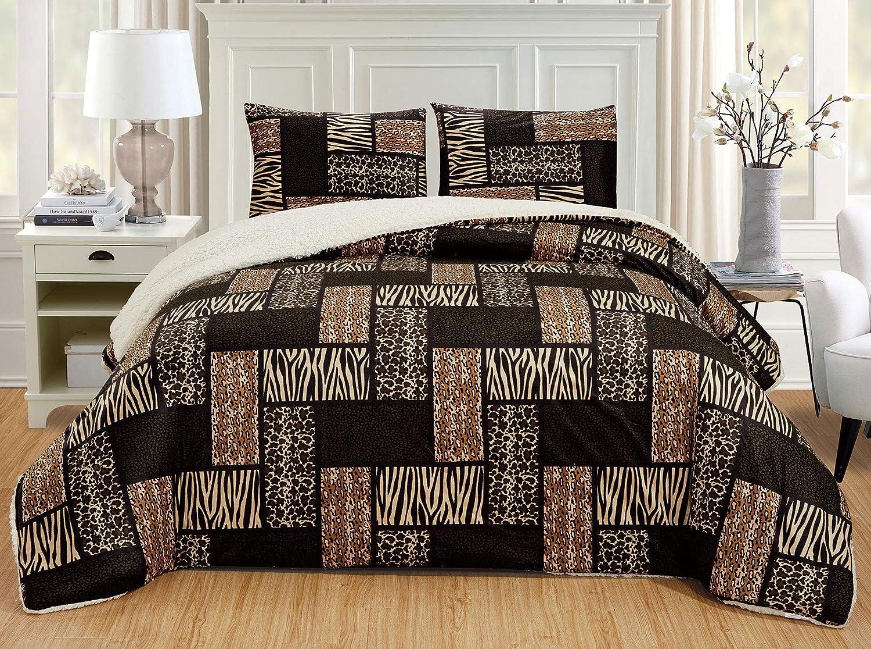GrandLinen 3 Piece King Size Dark Brown Black Animal Print Safari Comforter Set. Leopard, Zebra, Cheetah Winter Micro Fur Bedding with Sherpa Backing