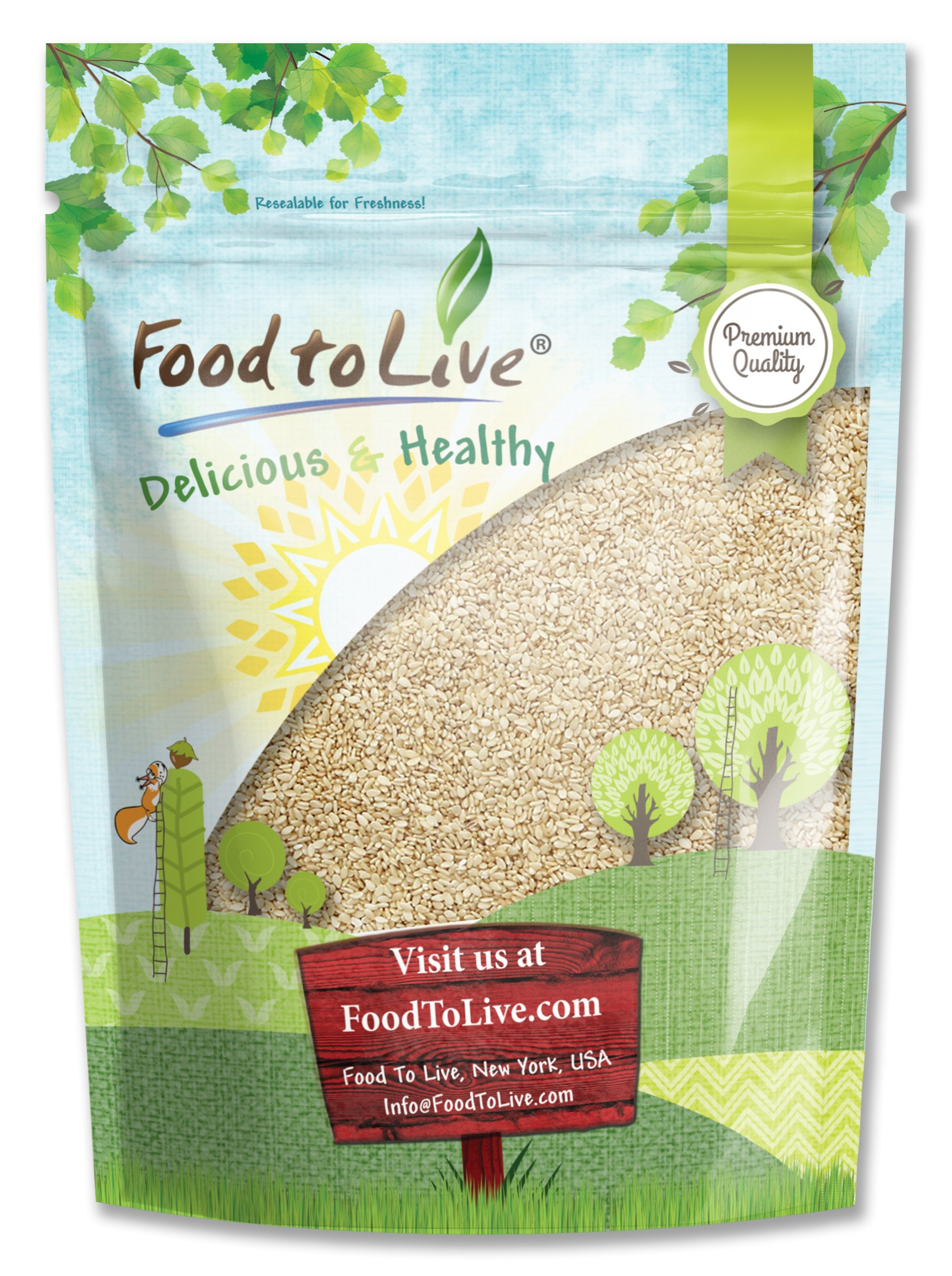 Sesame Seeds, 8 Ounces - Hulled, Kosher by Food to Live