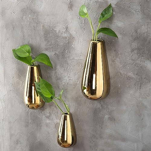 MyGift Modern Metallic Gold-Tone Ceramic Oval Wall-Mounted Flower Plant Vases, Set of 3