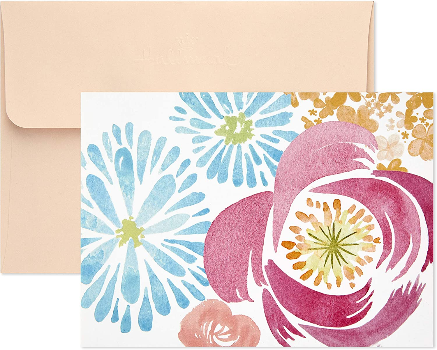 Hallmark Assorted Blank and Thank You Cards Blush and Gold 40 Flat Paneled Note Cards with Envelopes and Card Organizer
