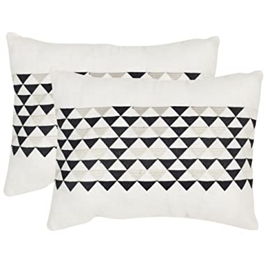 Safavieh Pillow Collection Throw Pillows, 12 by 20-Inch, Geo Mountain Slate, Set of 2