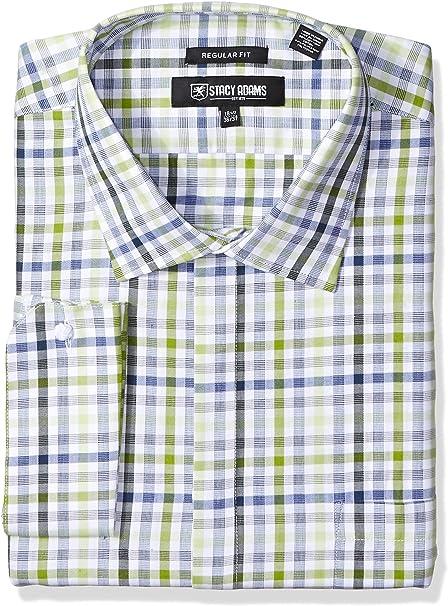 STACY ADAMS Mens Big and Tall Big /& Tall Multi Color Plaid Classic Fit Dress Shirt