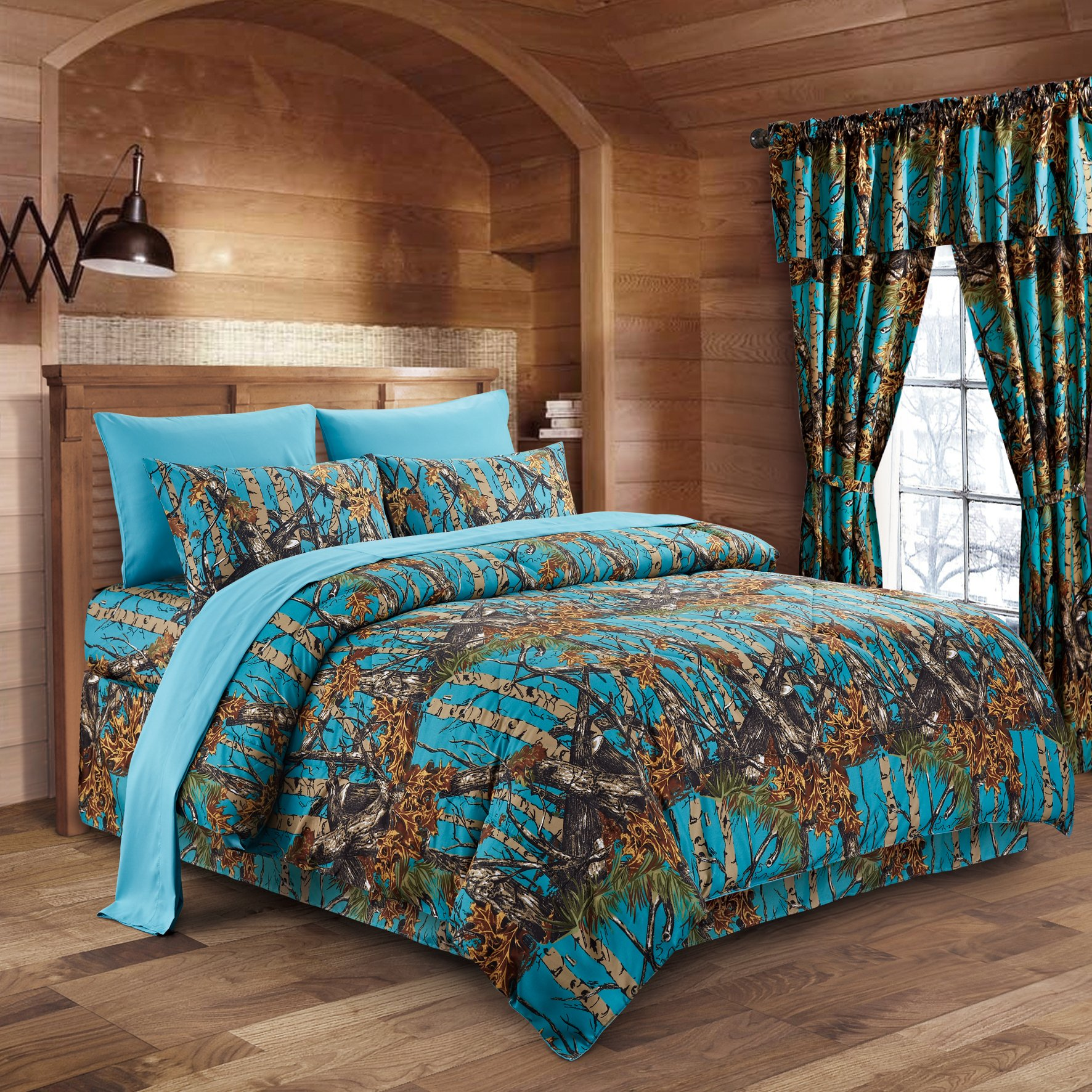 The Woods Sea Breeze Camouflage Twin 5pc Premium Luxury Comforter, Sheet, Pillowcases, and Bed Skirt Set by Regal Comfort Camo Bedding Set For Hunters Cabin or Rustic Lodge Teens Boys and Girls