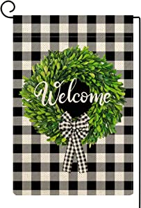 Molili Small Welcome Boxwood Wreath Garden Flag Burlap Vertical Double Sided Fall Buffalo Check Plaid Bow-Knot Rustic Farmhouse Flag Yard Outdoor Farm Decoration 12.5 x 18 Inch Black and White