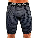 Redesign Compression Men's Shorts Tights (Nylon) Skins for Gym, Running, Swimming, Cricket, Cycling, Basketball, Yoga, Football, Tennis, Badminton & More (Multiple Colors & Designs)