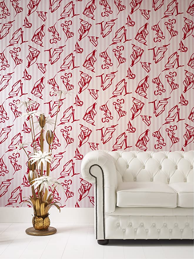 Graham /& Brown Barbara Hulanicki Flock Shoes Flocked Wallpaper Red//Pink 19914