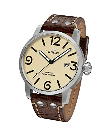TW Steel Men s Maverick Stainless Steel Quartz Watch with Leather Calfskin Strap, Brown, 22 Model MS21