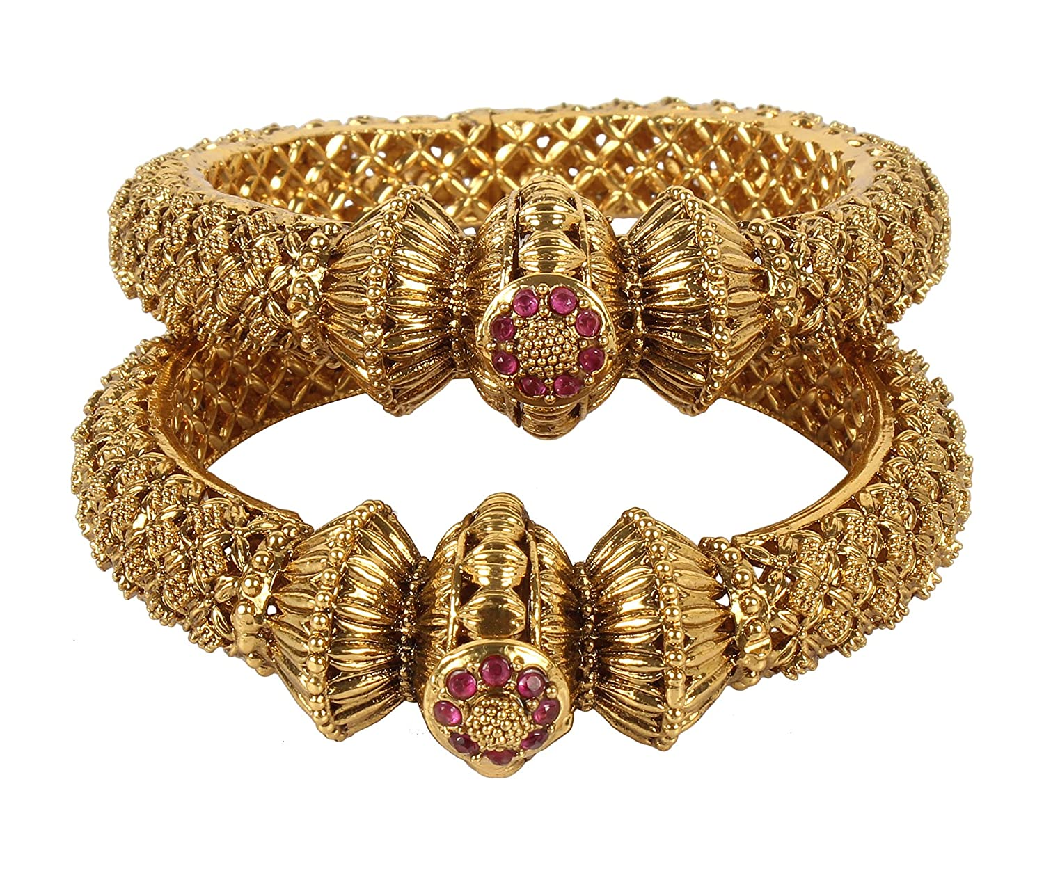 MUCH-MORE Exclusive American Bollywood Fashion Gold Plated Tone Indian Polki Traditional Bangles Bracelets Jewelry for Women