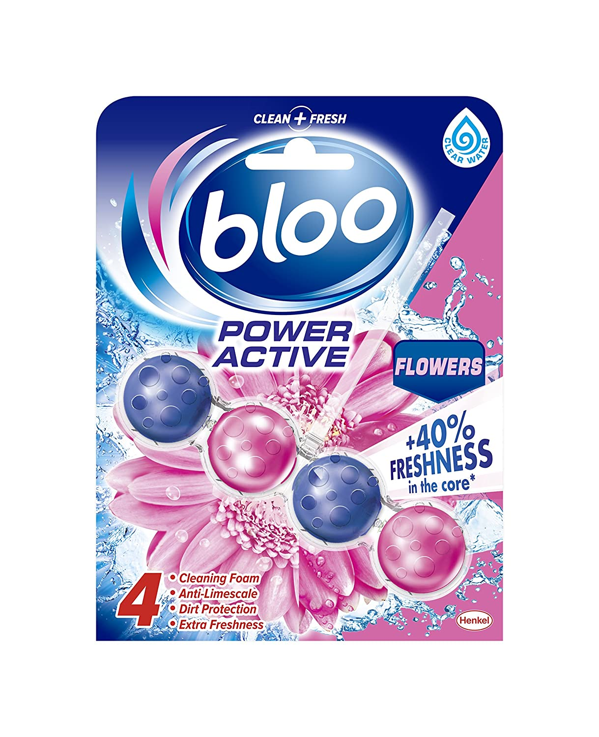 Bloo Power Active Toilet Rim Block, Fresh Flowers, Case of 10 Henkel Ltd 2302692