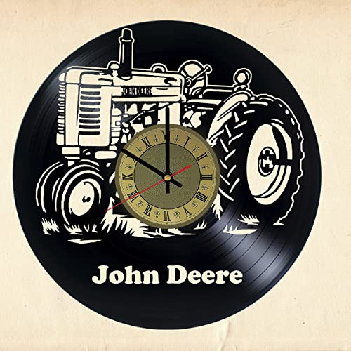 John Deere Tractor Decor Vinyl Record Wall Clock   Gift Idea For Girls Boys  Parents Sister