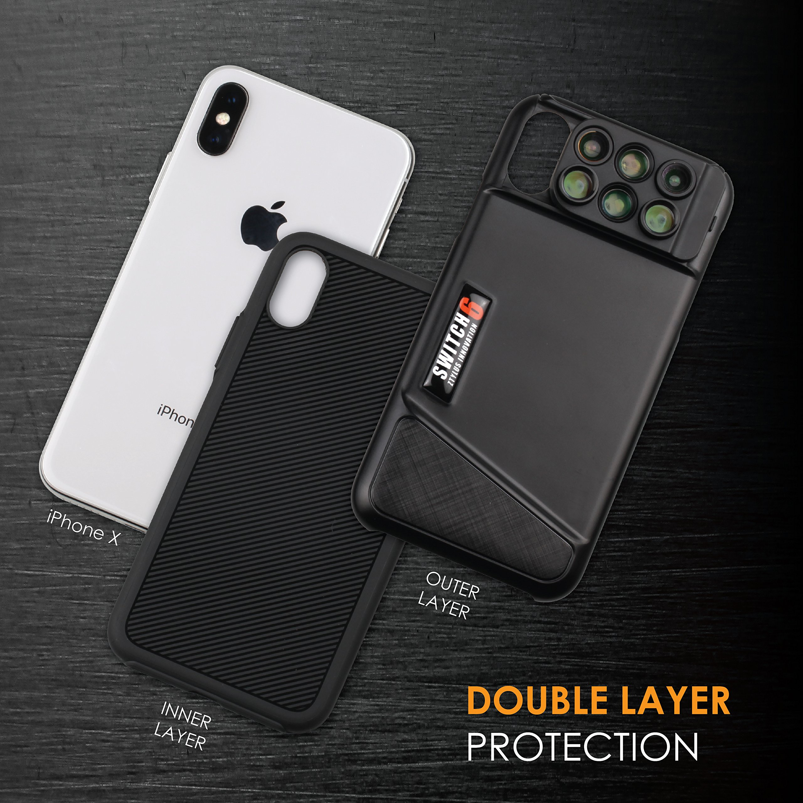 Ztylus Switch 6 for Apple iPhone X: 6 in 1 Dual Optics Lens System (Fisheye, Telephoto, Wide-angle, Macro and Super Macro), Double Layer Protection (Black) by Ztylus (Image #2)