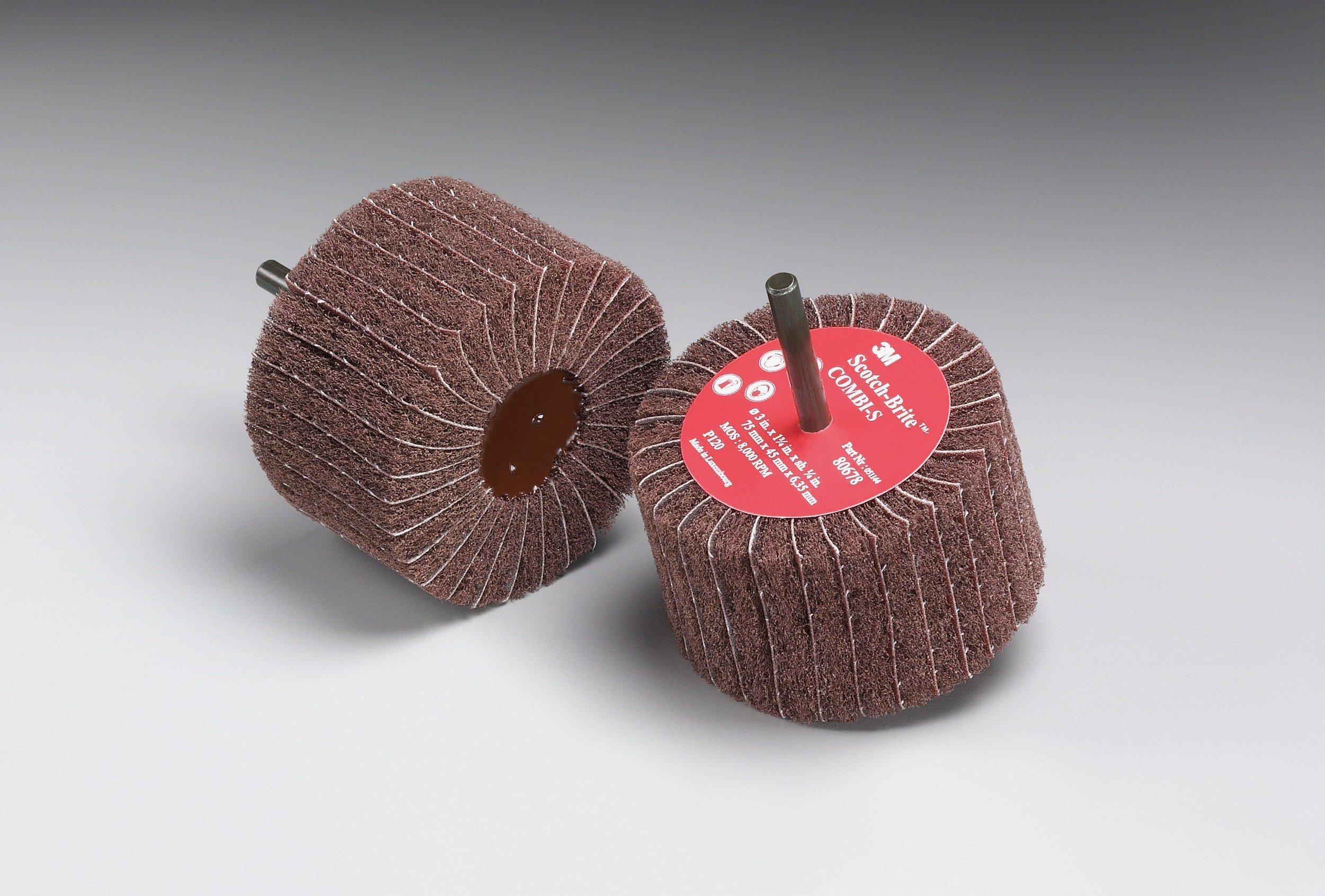 Scotch-Brite(TM) Combi-S Wheel 80799, X-Weight, Aluminum Oxide, 3'' Diameter x 1-3/4'' Width, 1/4'' Shank, P180 Grit, 8000 rpm, Maroon  (Pack of 10) by 3M