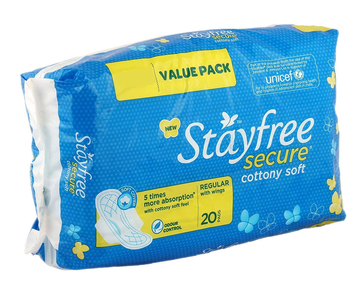 Stayfree Secure Cottony Sanitary Napkins with Wings (20 Count)