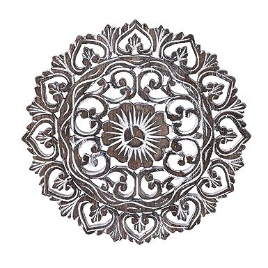Amazon Com Elaborate Circular Clay Rubbed Lotus Floral Hand Carved