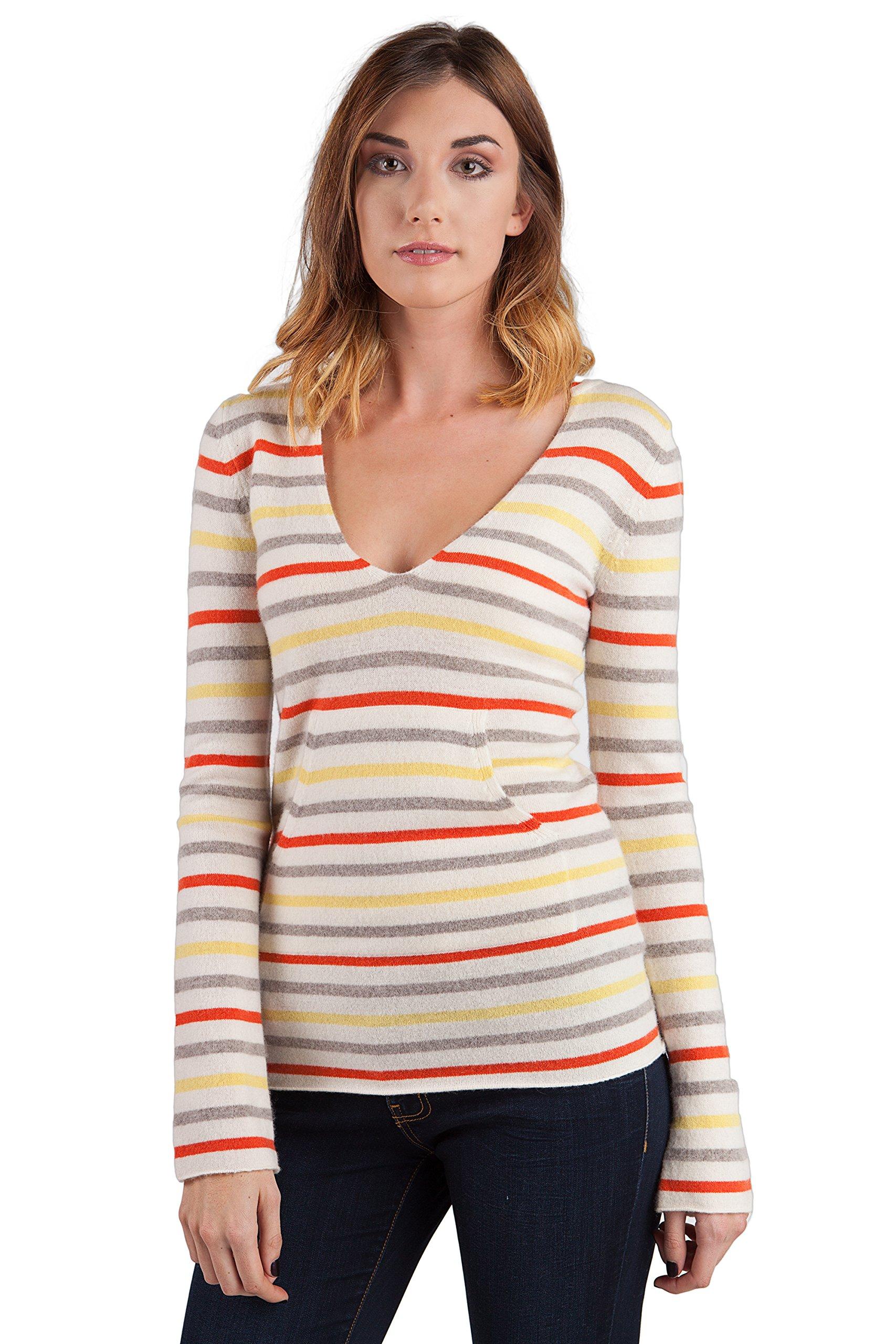 JENNIE LIU Women's 100% Cashmere Long Sleeve V Neck Contemporary Cashmere Hoodie (M, Lemon Stripe)