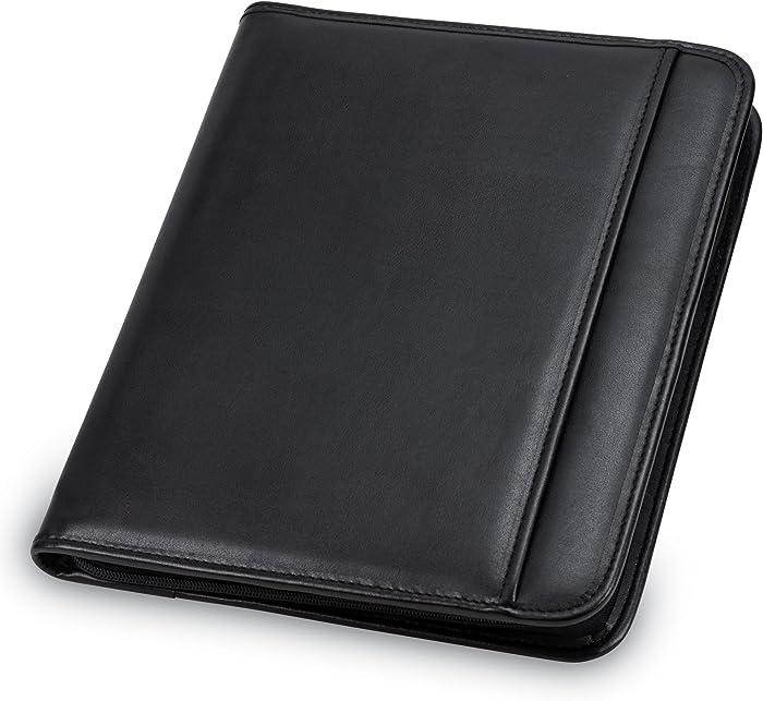 Samsill Professional Padfolio – Resume Portfolio / Business Portfolio with Secure Zippered Closure, 10.1 Inch Tablet Sleeve, 8.5 x11 Writing Pad, Black