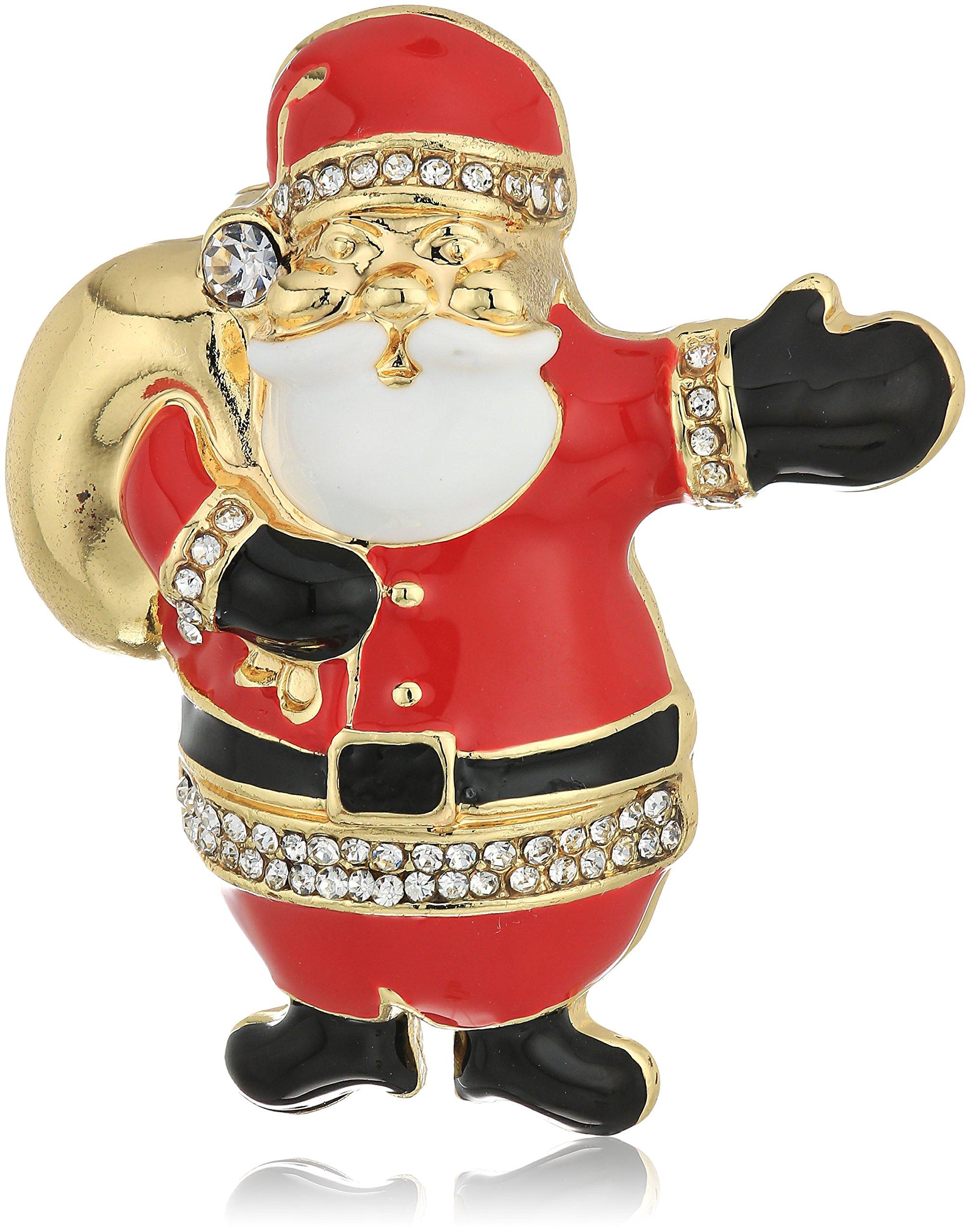 Napier gold-tone and multi santa clause brooch and pin