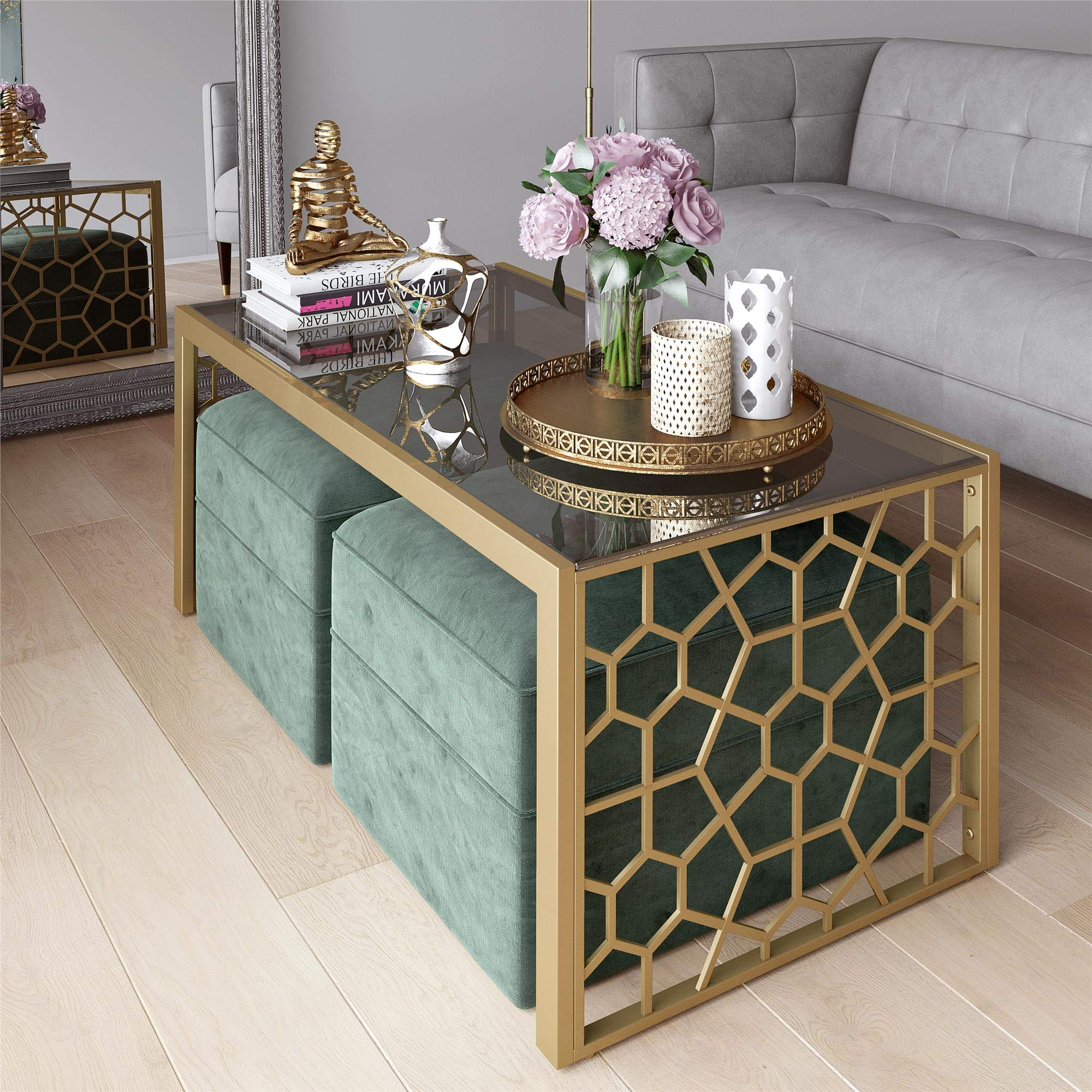 CosmoLiving Juliette Modern Tempered Glass Gold Frame Coffee Table with Two Seafoam Green Velvet Ottomans - Brass by CosmoLiving by Cosmopolitan