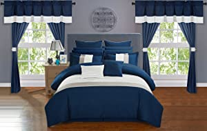Chic Home Vixen 24 Piece Comforter Set Color Block Quilted Embroidered Complete Bag Sheets Bed Skirt Decorative Pillows Shams Window Treatments Curtains Included, King, Navy