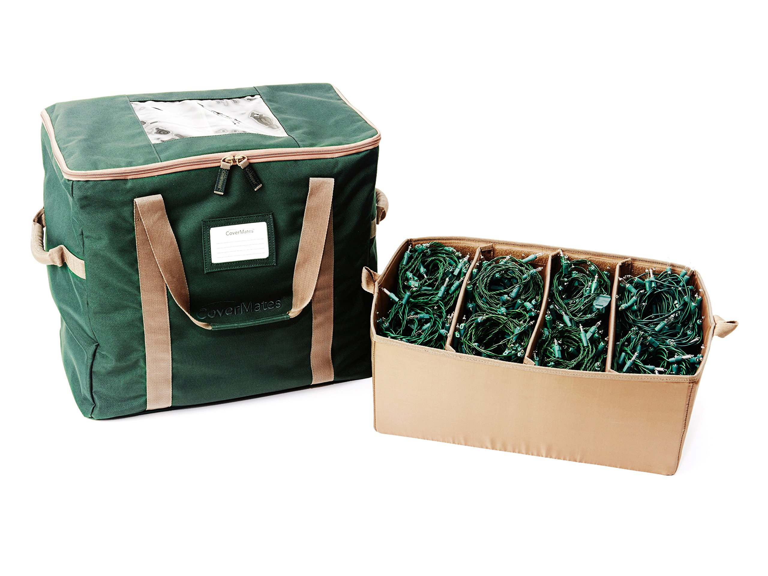 CoverMates – 18'' Holiday LightKeeper Storage Bag – Holds up 32 Light Stands – 3 Year Warranty- Green