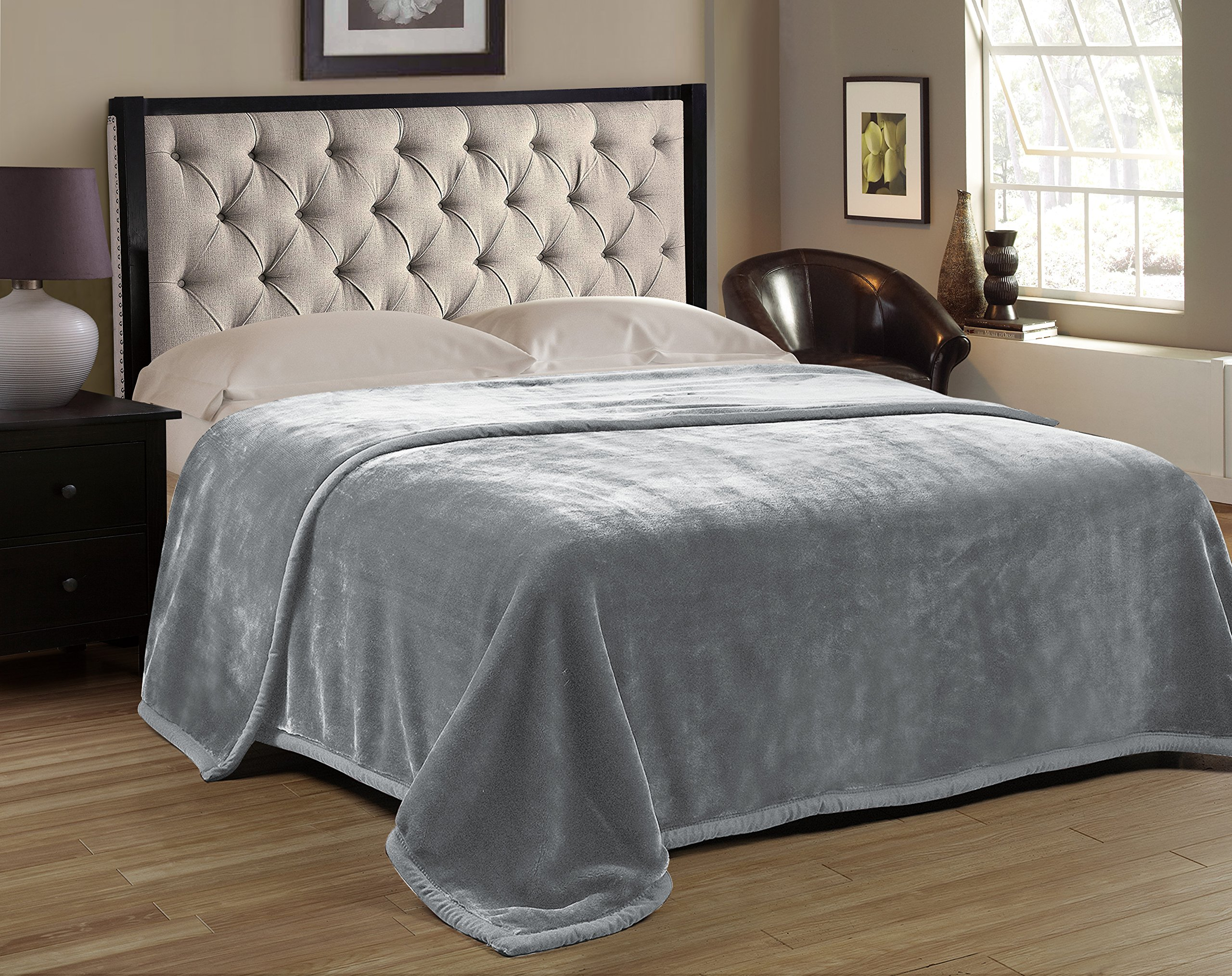 HIG Premium Thick Blanket with Double Layer Reversible Plush Raschel Blanket Gray Solid Color - Supersoft, Warm, Silky, Hypoallergenic, Fade resistant in Queen Size (Queen, Gray)