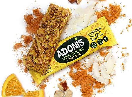 Adonis Low Sugar - Barritas de Nueces del Brasil Crujiente sabor Cúrcuma y Naranja | 100% Natural, Baja en Carbohidratos, Sin Gluten, Vegano, Paleo (5): ...
