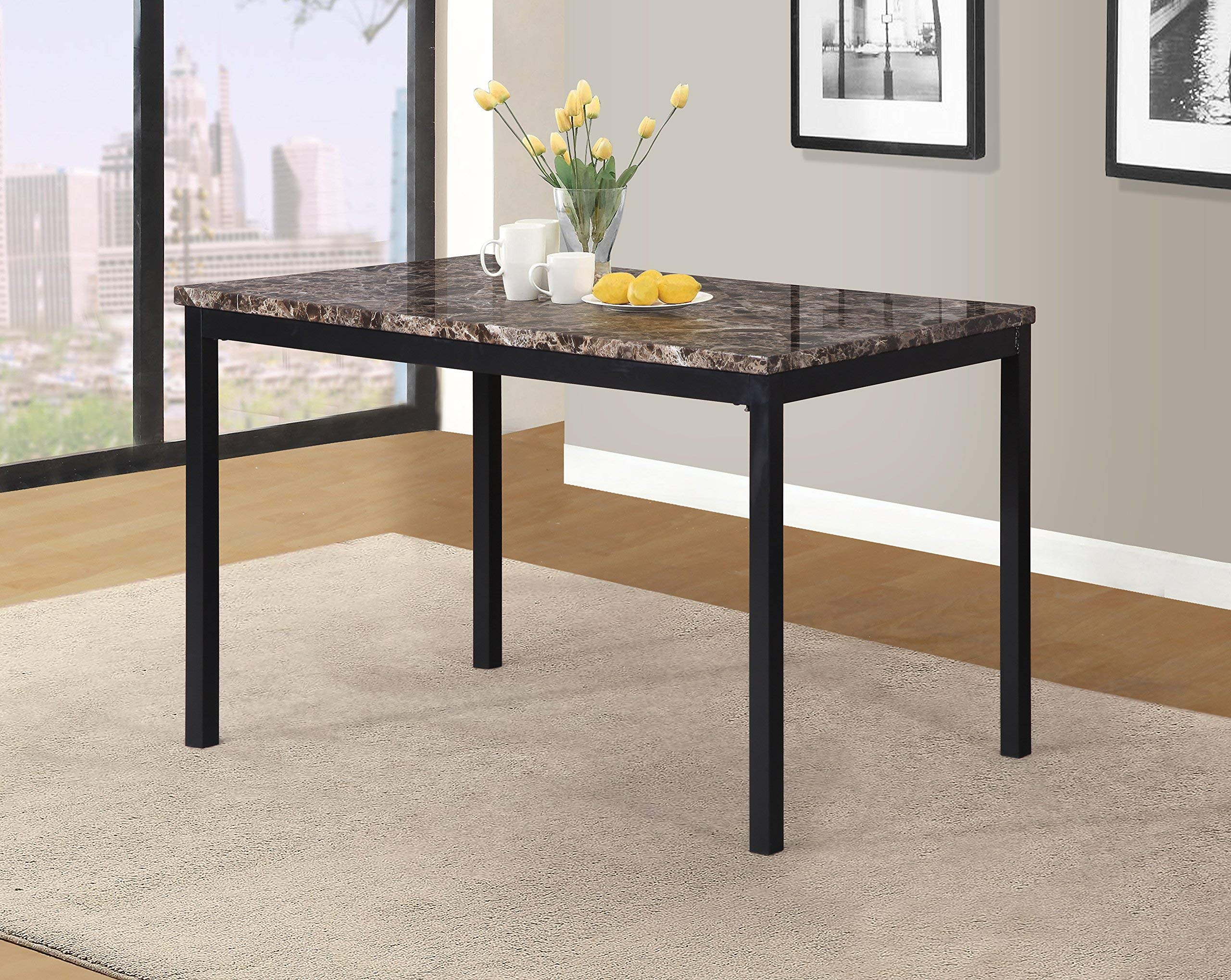 Roundhill Furniture T007 Noyes Metal Dining Table with Laminated Faux Marble Top by Roundhill Furniture