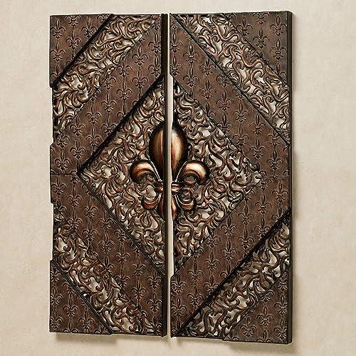 Fleur de Lis Wall Panel Set Aged Bronze Set of Two