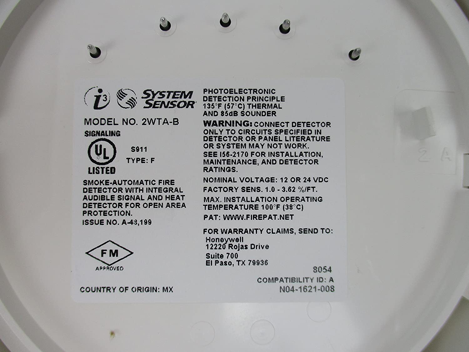 System Sensor 2WTA-B - 2-Wire Photoelectric Smoke Detector - - Amazon.com