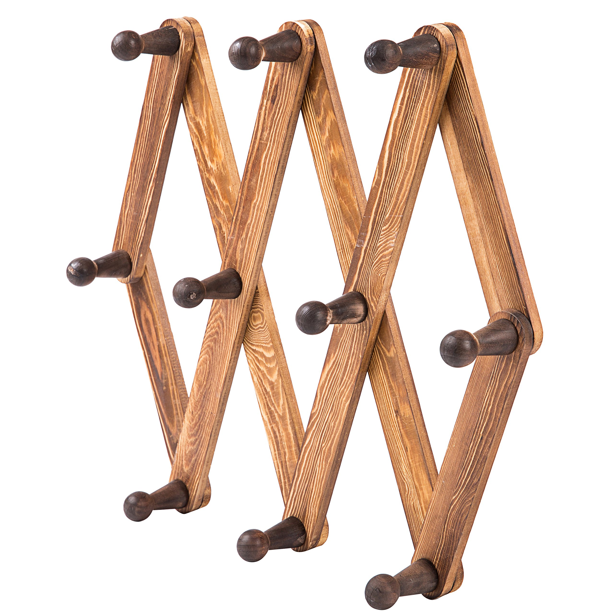 MyGift 10 Hook Torched Wood Wall Mounted Expandable Accordion Peg Coat Rack Hanger by MyGift (Image #5)