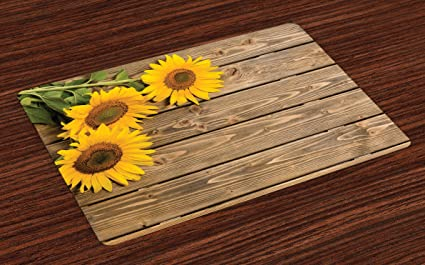Lunarable Sunflower Place Mats Set Of 4 Three Sunflowers On Wooden Background At Top Left
