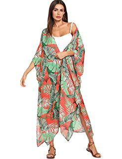 d565069650fa9 Yaffi Women's Swimsuit Cover up Leaves Printed Chiffon Kimono ...