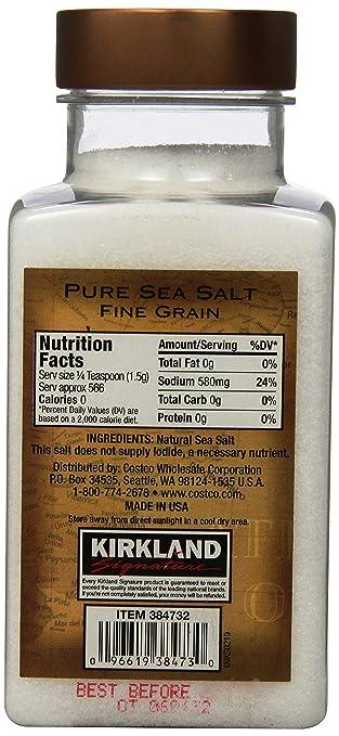 Amazon com   Kirkland Signature Pure Sea Salt  30 Ounce   Coarse Sea Salt    Grocery   Gourmet Food. Amazon com   Kirkland Signature Pure Sea Salt  30 Ounce   Coarse