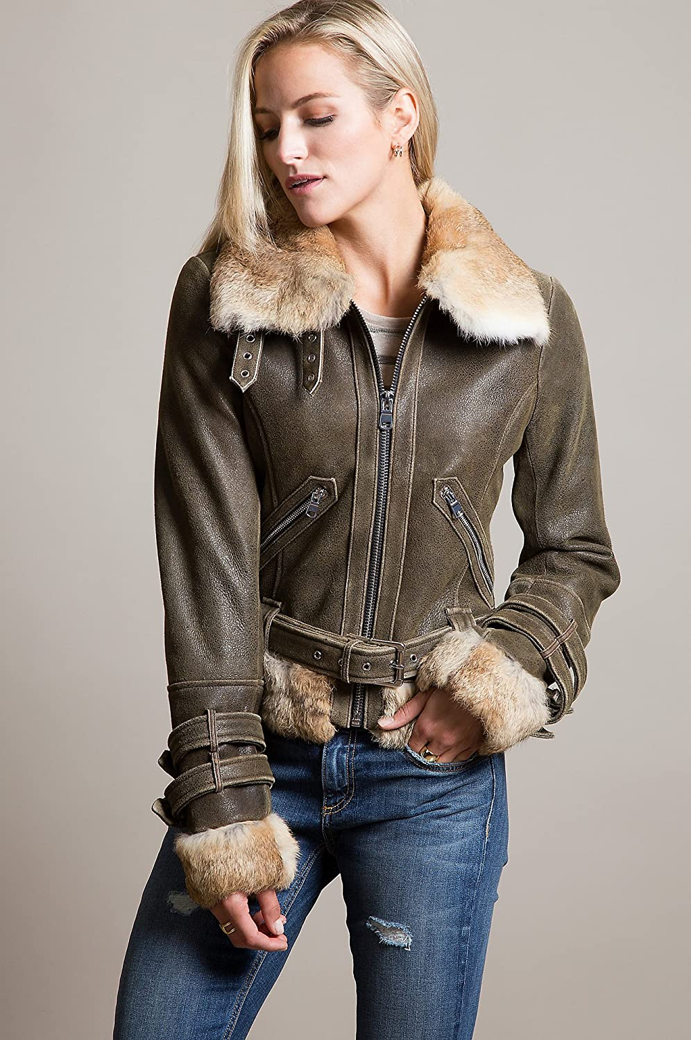 1930s Style Coats, Jackets | Art Deco Outerwear Overland Sheepskin Co Zoe Lambskin Leather Bomber Jacket Rabbit Fur Trim $995.00 AT vintagedancer.com