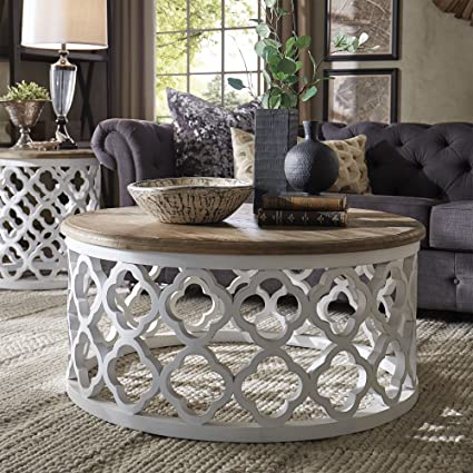 Amazon.com: DESIGNER TABLE Moroccan Wood Round Coffee Table ...