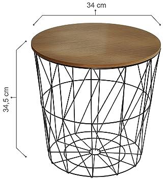 Calutea Moderner Beistelltisch Rund Drahtkorb Metall Schwarz Holz