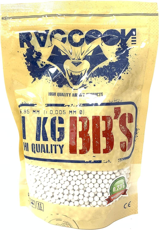 RACCOON Bolsa de 1 Kg Bio Extreme Precision Balines Biodegradables para Pistola de Bolas (1kg Unidades, 0,23 g)