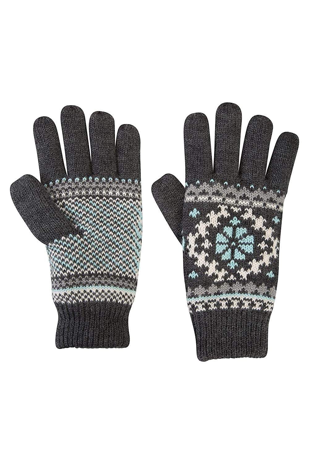 Mountain Warehouse Thinsulate Fairisle Womens Glove - Knitted Effect, Double Lined Thinsulate Material Extra Warmth - Lightweight & Easy to Pack Away - 25.5cm X 11cm Grey 025569024001