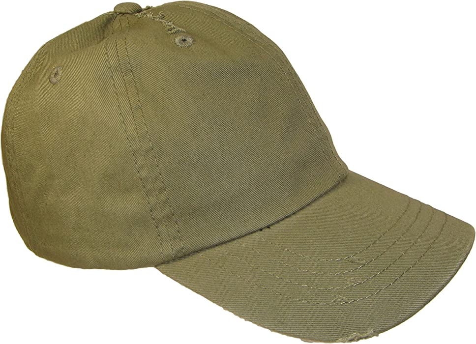 99787e4b04c Dad Hat - Frayed Weathered Vintage Style Low Profile Cap (One Size ...