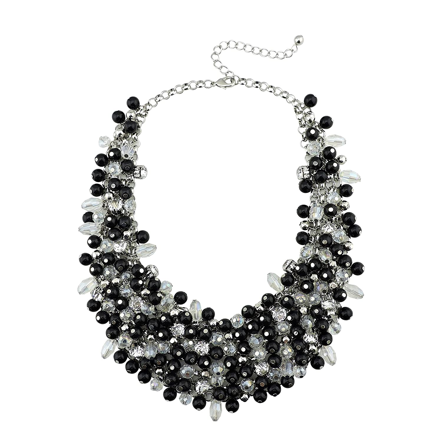 Bocar Fashion Faux Pearl Crystal Chunky Collar Statement Necklace Earring Set for Women Gift bocarjewelry NK-10260