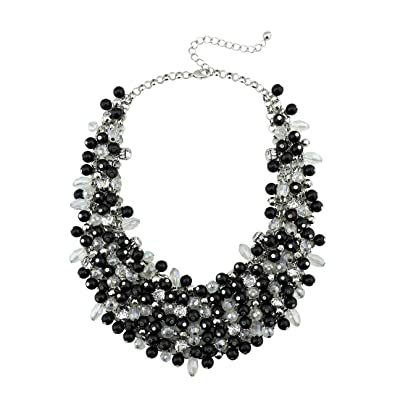 5ef1b036423 BOCAR Fashion Faux Pearl Crystal Chunky Collar Statement Necklace for Women  Gift (NK-10260-black): Amazon.co.uk: Jewellery